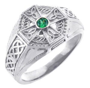 925 Sterling Silver Celtic Cross Mens CZ Ring with Emerald