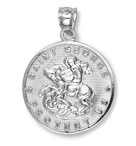 Sterling Silver Saint George Coin Pendant