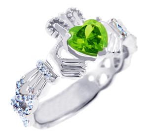 White Gold Diamond Claddagh Ring 0.40 Carats with Peridot Stone
