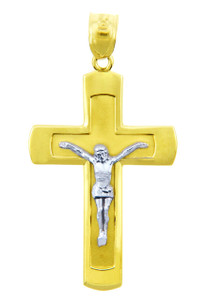 Two Tone Gold Crucifix Pendant - The Adorable Crucifix