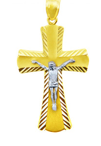 Two Tone Gold Crucifix Pendant - The Miracle Crucifix