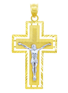 Two Tone Gold Crucifix Pendant - The Miraculous Crucifix