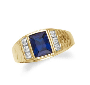 Synthetic sapphire and clear cz men's ring in 10k or 14k gold.