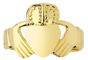 Gold Claddagh Ring Men's Classic.  Available in 14k and 10k.