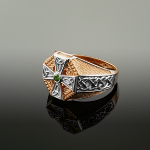 Two-Tone Rose Gold Celtic Cross Green CZ Mens Emerald Ring