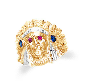 Gold Indian Head Mens Ring with Cubic Zirconia