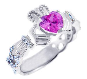 18K White Gold Diamond Claddagh Ring with 0.4 Ct.  Pink Tourmaline