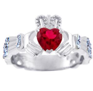 18K White Gold Diamond Claddagh Ring with 0.4 Ct Garnet