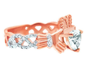 Rose Gold 0.40 Ct  Diamond Band Claddagh Ring with 1.02 Ct. SI Clear Diamond