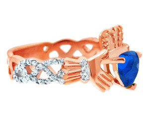 Rose Gold 0.4 Ct Diamond Band Claddagh Ring With 1.10 Ct  Blue Sapphire
