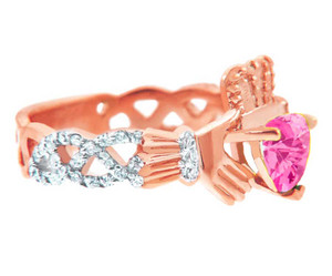 Rose Gold Diamond Claddagh Ring with 0.4 Ct.  Pink Tourmaline