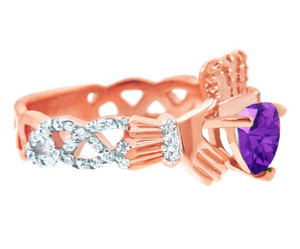 Rose Gold Diamond Claddagh Ring With 0.4 Ct  Amethyst