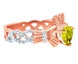 Rose Gold Diamond Claddagh Ring With 0.4 Ct  Citrine