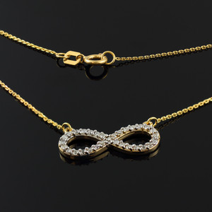 14K Gold Diamond Infinity Pendant Necklace