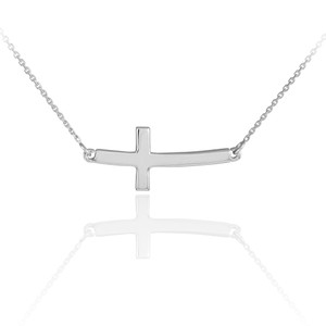 Sterling Silver Sideways Curved Cross Cute Necklace