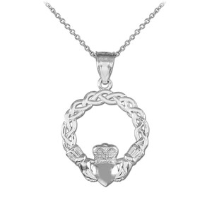 White Gold Classic Braided Claddagh Charm Pendant Necklace