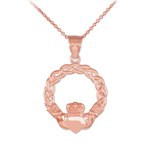 Rose Gold Classic Braided Claddagh Charm Pendant Necklace