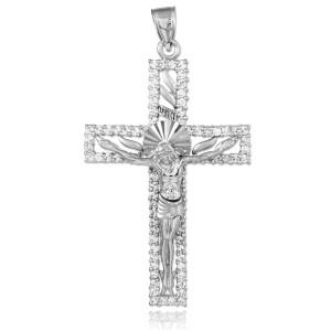 White Gold Crucifix CZ Pendant