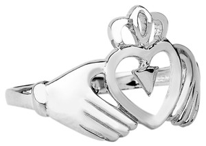 Ladies Claddagh White Gold Ring
