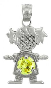 White Gold Baby Girl CZ Yellow Topaz  Birthstone Charm