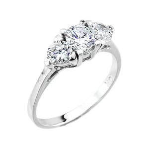 10k White Gold 3 Stone Cubic Zirconia Engagement Ring