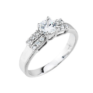 10k Gold Ladies Micro Pave Cubic Zirconia Engagement Ring