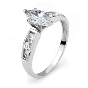 10k White Gold Marquise CZ Engagement Ring