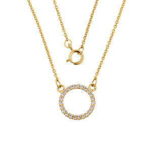 """14k Gold """"Circle of Love"""" Cubic Zirconia Necklace"""
