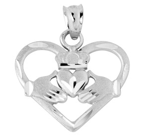 Heart Shaped Silver Claddagh Pendant Necklace