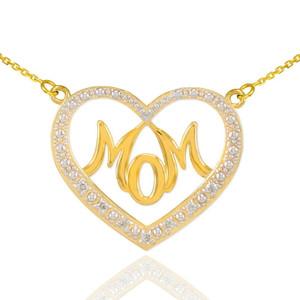 """14K Gold Diamond Studded """"Mom"""" Heart Necklace"""