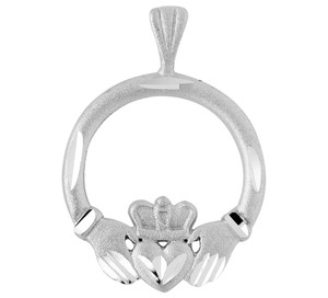 Diamond Cut Silver Claddagh Pendant