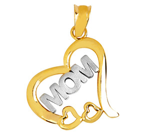 Mom Gold Heart Pendant