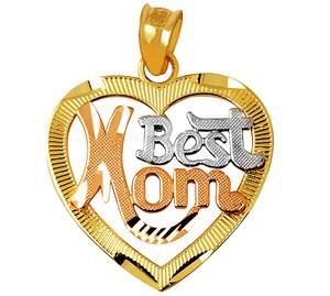 """Best Mom"" Tri-Color Heart Gold Pendant"