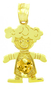 Yellow Gold Citrine CZ Heart Girl Birthstone Charm