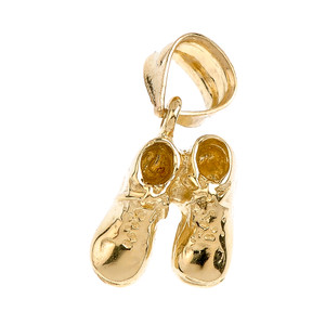 Solid Gold Baby Boy Shoes Charm Pendant