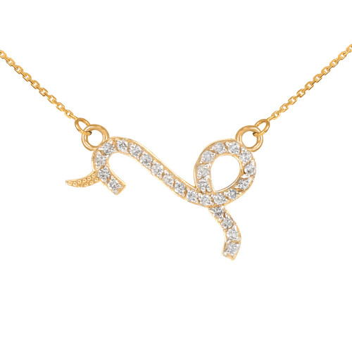 14K Gold Capicorn Zodiac Sign Diamond Necklace