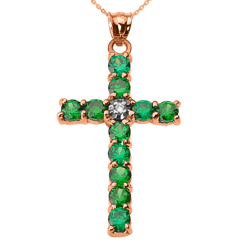10k Rose Gold Diamond and Green CZ Cross Pendant Necklace