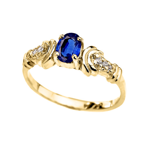 Yellow Gold Diamond and Sapphire Oval Solitaire Proposal Ring