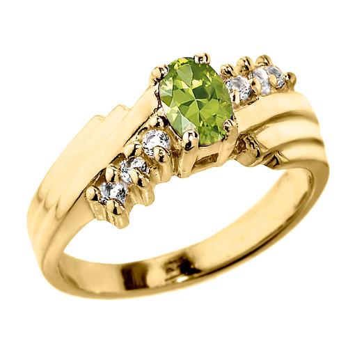 Dazzling Yellow Gold Diamond and Peridot Proposal Ring