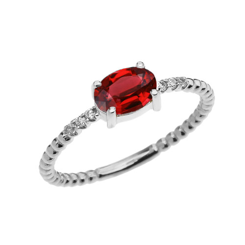 Diamond Beaded Band Ring With Garnet Centerstone in White Gold