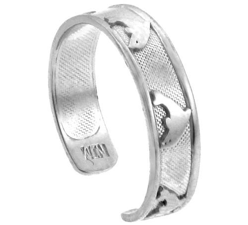 Bold Dolphin Silver Toe Ring