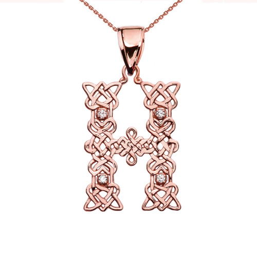 """""""H"""" Initial In Celtic Knot Pattern Rose Gold Pendant Necklace With Diamond"""