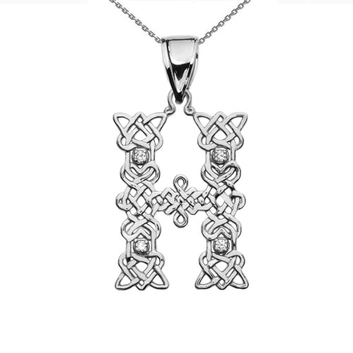 """""""H"""" Initial In Celtic Knot Pattern White Gold Pendant Necklace With Diamond"""