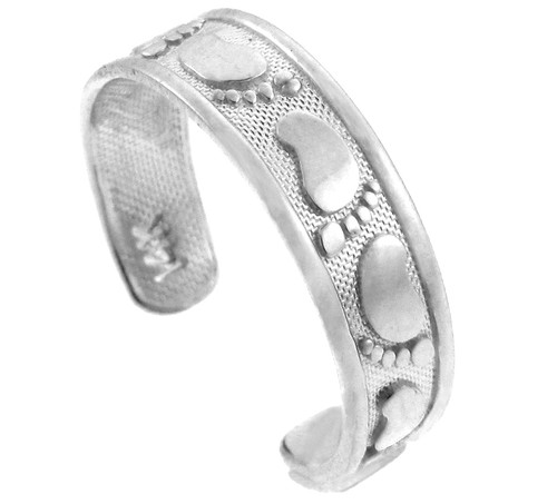 Classy Footprint White Gold Toe Ring