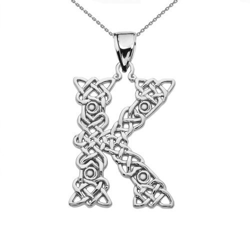 """""""K"""" Initial In Celtic Knot Pattern Sterling Silver Pendant Necklace"""