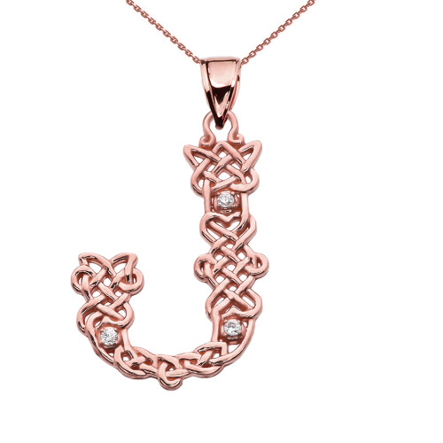"""""""J"""" Initial In Celtic Knot Pattern Rose Gold Pendant Necklace With Diamond"""