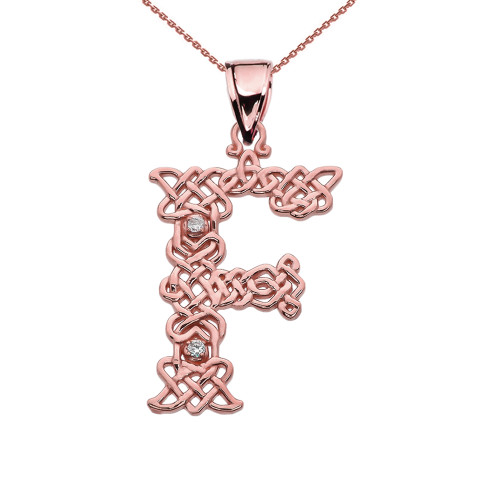 """F"" Initial In Celtic Knot Pattern Rose Gold Pendant Necklace With Diamond"
