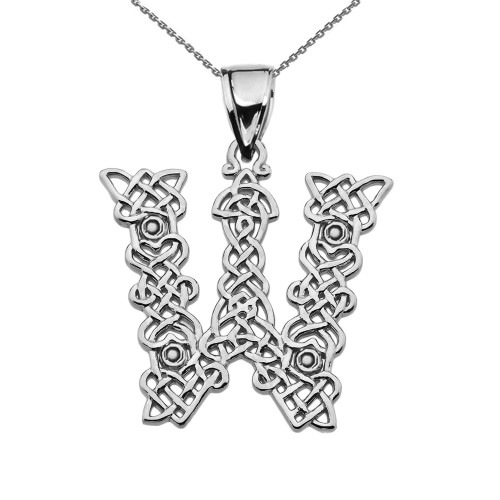 """""""W"""" Initial In Celtic Knot Pattern Sterling Silver Pendant Necklace"""