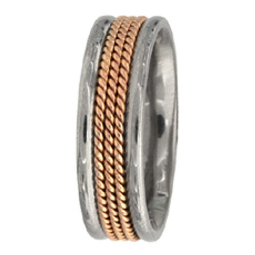 Hand Braided Two-Tone Rose Gold Wedding Band