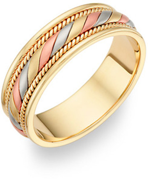Hand Braided Gold Wedding Band Tri Color